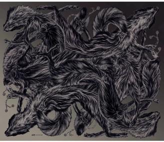 Arlette Ess 'Fox Furs Khaki' Large Fringed Silk Twill Scarf
