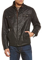 Daniel Cremieux Monaco Quilted Double Collar Full-Zip Leather Jacket