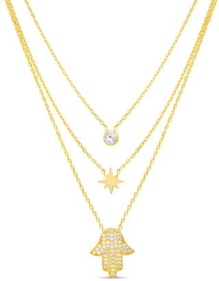 Lesa Michele Hamsa Triple Layer Necklace