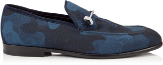 Jimmy Choo MARTI Navy Mix Camouflage Denim Jacquard Loafers