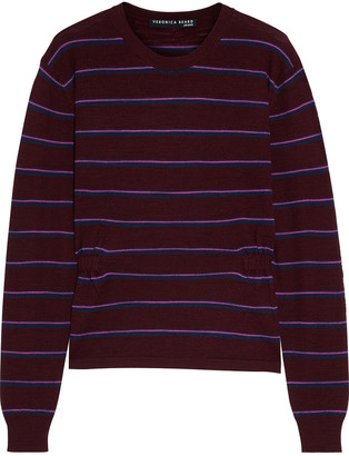 Veronica Beard Charlene Shirred Striped Merino Wool Sweater