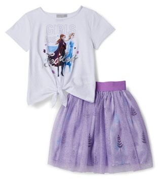 """Disney Frozen 2 """"Girls Are Fearless"""" Tie Front Tee and Tutu Skirt, 2-Piece Outfit Set"""