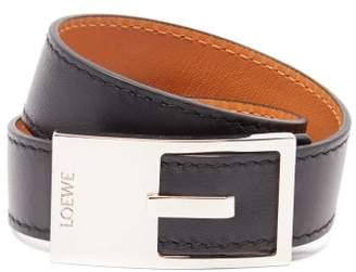 Loewe Logo Engraved Buckle Leather Bracelet - Womens - Black