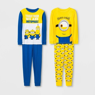Boys' Minions 4pc Pajama Set - Yellow/Blue