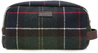 Barbour checked make up bag