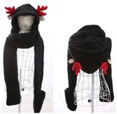 Generic Womens Cute Winter Thick Gloves Earflap Hat Scarf Set,Cat ears shape