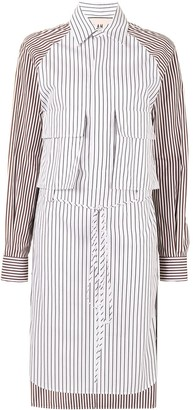 Plan C Contrast Panel Striped Shirt Dress