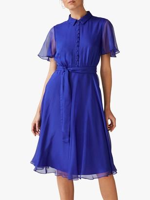 Phase Eight Adelphia Flared Shirt Dress, Bright Lapis