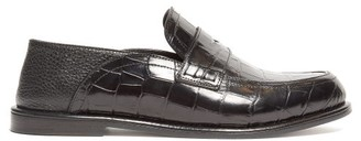 Loewe Collapsible Crocodile-effect Leather Loafers - Womens - Black