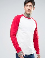 Farah Zenlak Long Sleeve Baseball Top Slim Fit In Ecru/red