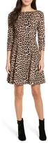 Kate Spade Women's Leopard Print Ponte Fit & Flare Dress