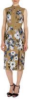 Erdem Delphine Floral-Print Keyhole Dress, Khaki
