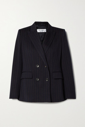 Max Mara Cinghia Double-breasted Pinstriped Wool-blend Jersey Blazer - Navy