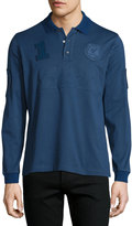 Brioni Long-Sleeve Polo Shirt, Blue Solid