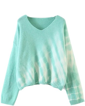 Goodnight Macaroon 'Joanna' V-neck Tie Dye Sweater (3 Colors)