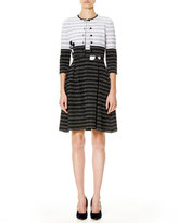 Carolina Herrera Leaf-Embroidered 3/4-Sleeve Cardigan, White/Black