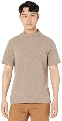NATIVE YOUTH Adrian High Neck Short Sleeve T-Shirt (Taupe) Men's Clothing