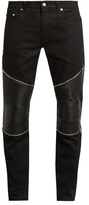 Saint Laurent Contrast-panel Skinny Biker Jeans