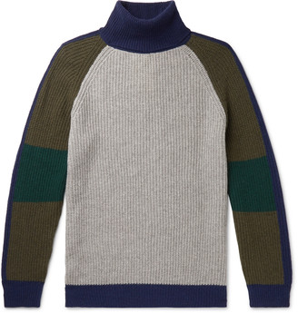 Colour-Block Cashmere And Wool-Blend Rollneck Sweater