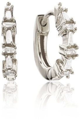 Lily & Roo Small Silver Baguette Diamond Style Huggie Hoop Earrings