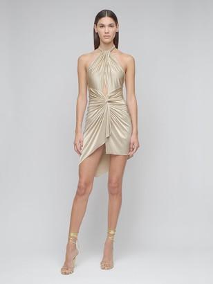 Alexandre Vauthier Draped Shiny Jersey Mini Dress W/cut Out