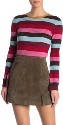 Blank NYC Blanknyc Denim Metallic Stripe Rib Knit Sweater