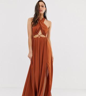 Asos Tall DESGIN Tall maxi dress with cross neck and cut out waist detail-Beige
