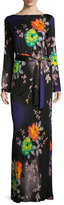 Etro Long-Sleeve Floral-Print Jersey Gown, Black/Purple