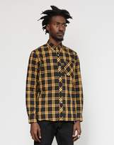 Fred Perry Long Sleeve Tartan Shirt Black & Yellow