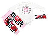 "Fheaven Newborn Baby Girls ""Hello World ""Romper Tops+Printed Strip Pants + Headband 3PCS Outfits Clothes Set (3M)"