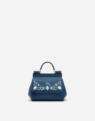 Dolce & Gabbana Dauphine Calfskin Sicily Mini Bag With Rhinestone Embellishement