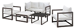 Modway Fortuna 6 Piece Outdoor Patio Modualr Sectional Sofa Set with Ottoman and Pair of Armchairs