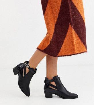 Miss Selfridge ankle boots with buckle detail in black
