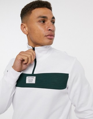 Jack and Jones Core sweat with 1/4 zip in white