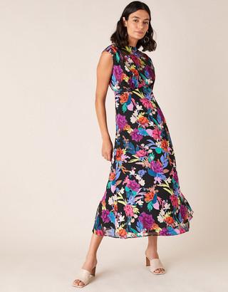 Monsoon Bonnie Floral Burnout Print Midi Dress Black