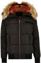 River Island Mens Black faux fur trim hooded puffer jacket