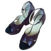Balenciaga Burgundy Leather Sandals