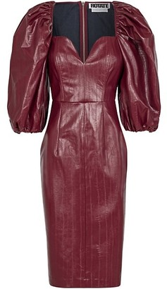 Rotate by Birger Christensen Irina Puff-Sleeve Faux Leather Sheath Dress