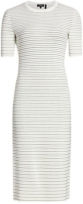 Theory Striped Ribbed Midi Dress