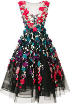 Marchesa floral embroidered mid-length gown - women - Silk/Polyester/Nylon - 4