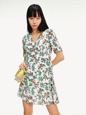 Tommy Hilfiger Floral Print V-Neck Mini Dress