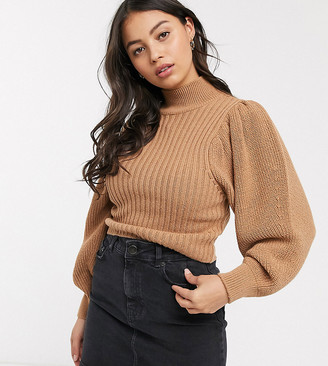 Asos DESIGN petite chunky rib jumper with volume sleeve