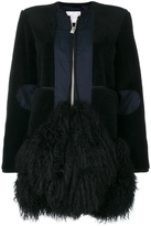 Sacai Zipped Fur Embellished Coat