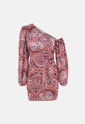 Missguided Pink Paisley Print Satin Mini Dress