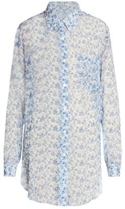 Acne Studios Chiffon Silk Floral Blouse