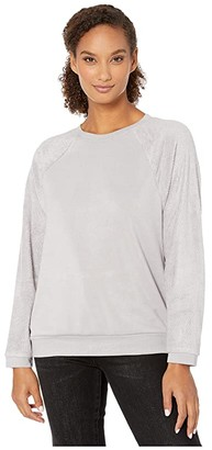 True Grit Dylan by Minky Cotton Ultra Soft Fleece Sweatshirt (Heather Chrome) Women's Clothing