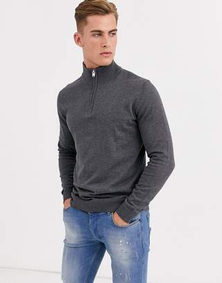 Selected quarter zip knitted jumper in grey melange