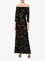 Gina Bacconi Karlotta Embroidered Velvet Maxi Dress, Black