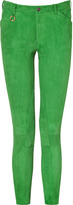 Ralph Lauren Blue Label Glendale Green Stretch Suede Pants