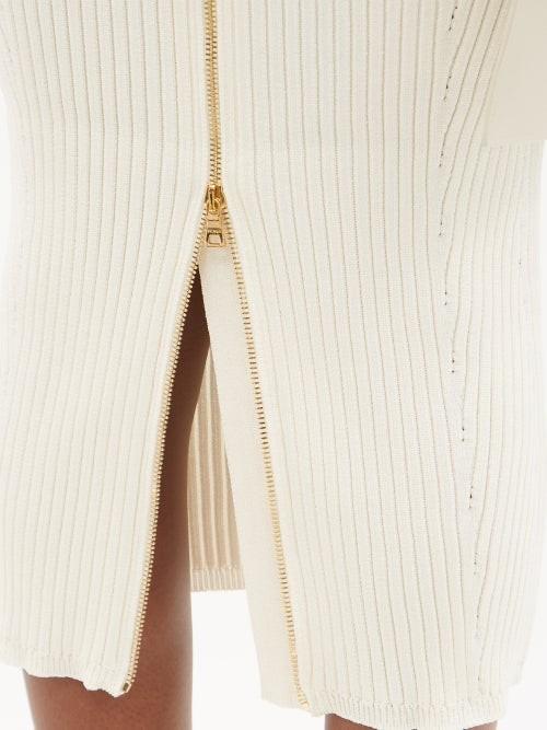 Thumbnail for your product : Balmain Back-zip Rib-knitted Midi Dress - Ivory